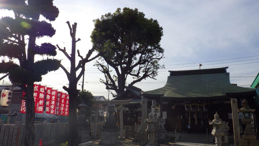 神社の植木剪定前